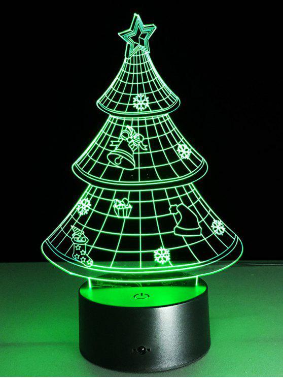 buy 3D Christmas Tree Shape Touch Night Light - TRANSPARENT