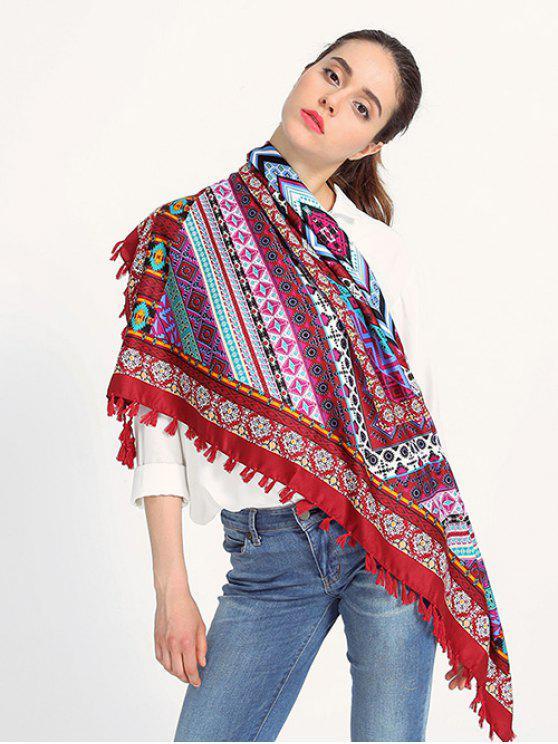 Patrón de la geometría de la borla de la bufanda - Vino Rojo