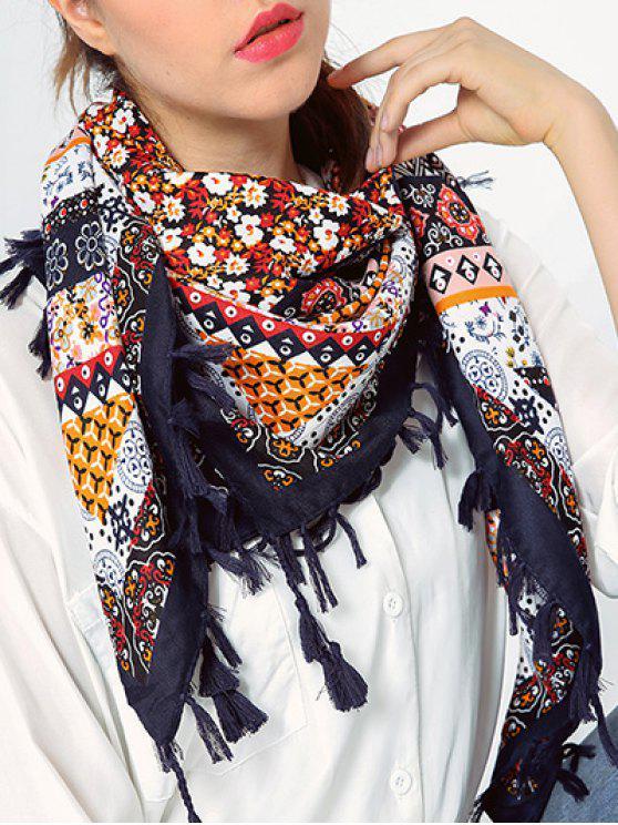 Schal mit Blumendruck und Troddel - Cadetblue