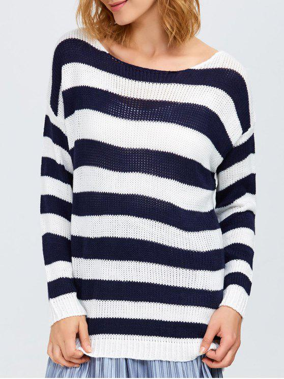 Round Neck Striped Tunic Sweater WHITE AND BLACK: Sweaters ONE ...