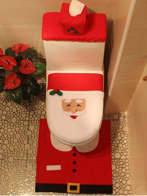 Cubierta 3 Piezas Asiento Inodoro Decoración Santa Navidad - Rojo