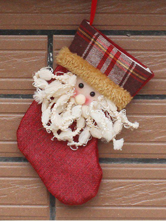 Chaussette suspendue à cadeaux de Noël imprimé Père Noël pour décoration d'arbre de Noël - Rouge