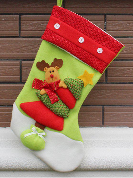 Chaussette de Rangement Décor de Fête de Noël - Rouge et Vert