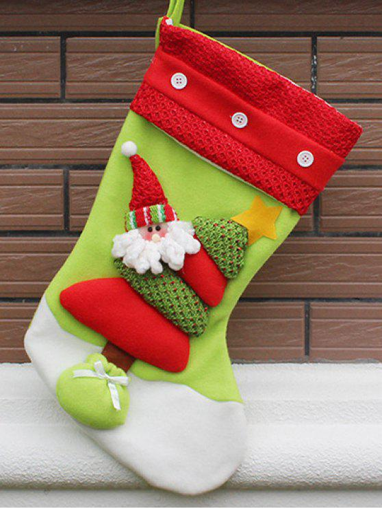 online Christmas Santa Hanging Present Stocking Bag - RED AND GREEN