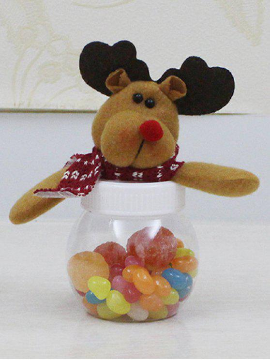 Navidad linda del tarro del caramelo del juguete de la felpa de Elk - Transparente