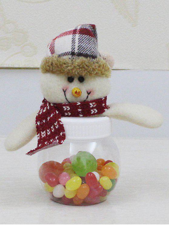 Noël mignon de bonhomme de neige en peluche Toy bonbons Jar - Transparent