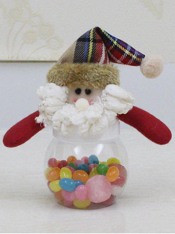fashion Christmas Cute Plush Santa Toy Candy Jar - TRANSPARENT
