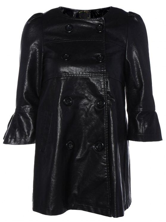 Robe en cuir PU à manches bouffantes à double boutonnage - Noir XL
