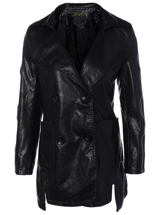 fashion Lapel Collar Double Breasted PU Leather Coat - BLACK XL