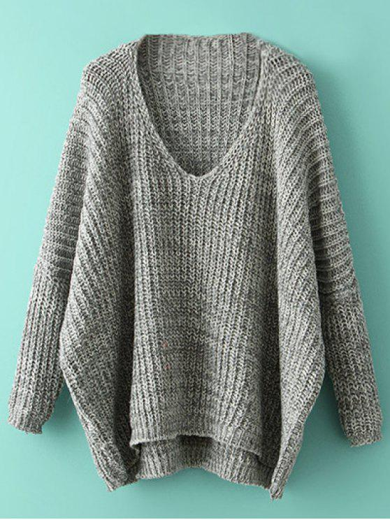outfit Space Dye Oversized Batwing Sweater - GRAY ONE SIZE