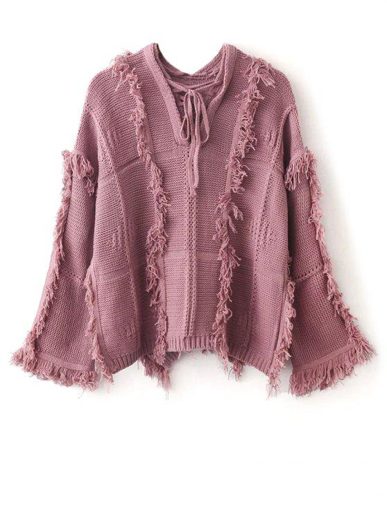 online Fringed Wide Sleeve Oversized Sweater - PINK ONE SIZE