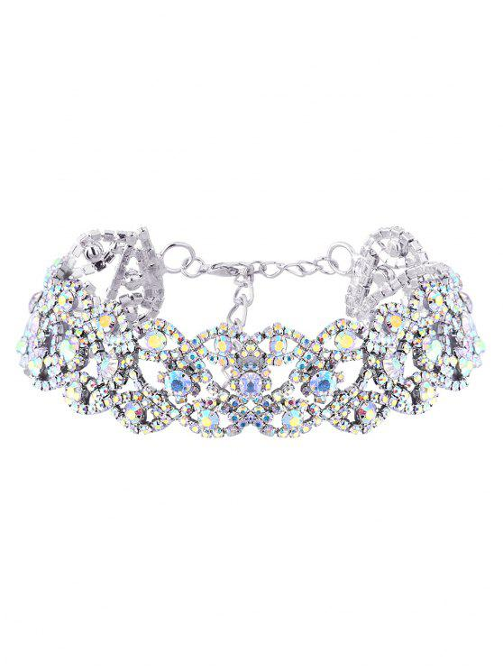 outfits Hollowed Rhinestone Necklace - SILVER