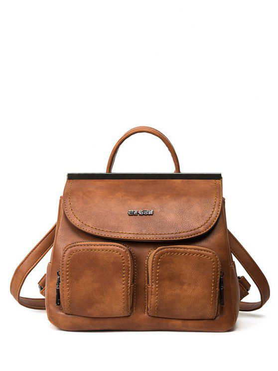 chic Stitching Pockets Metal Trimmed Backpack - BROWN