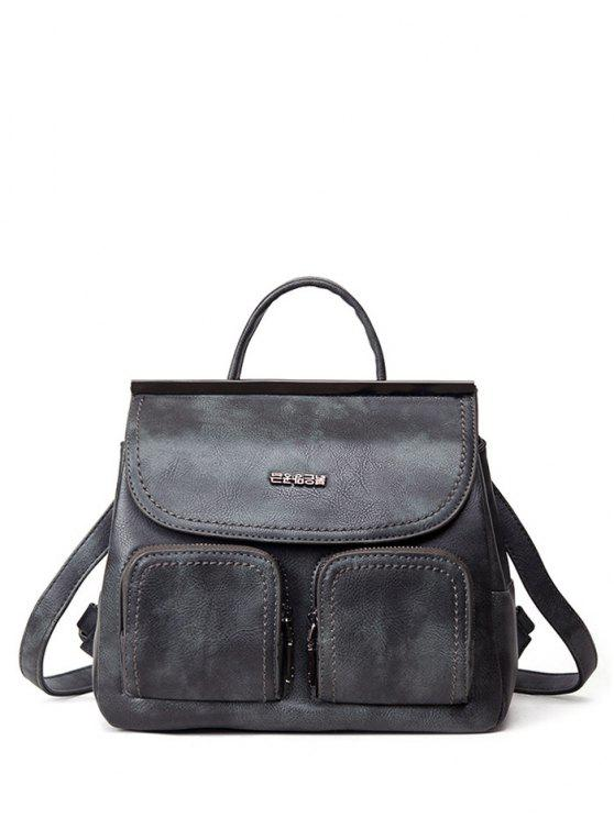 fancy Stitching Pockets Metal Trimmed Backpack - GRAY