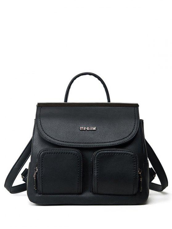sale Stitching Pockets Metal Trimmed Backpack - BLACK