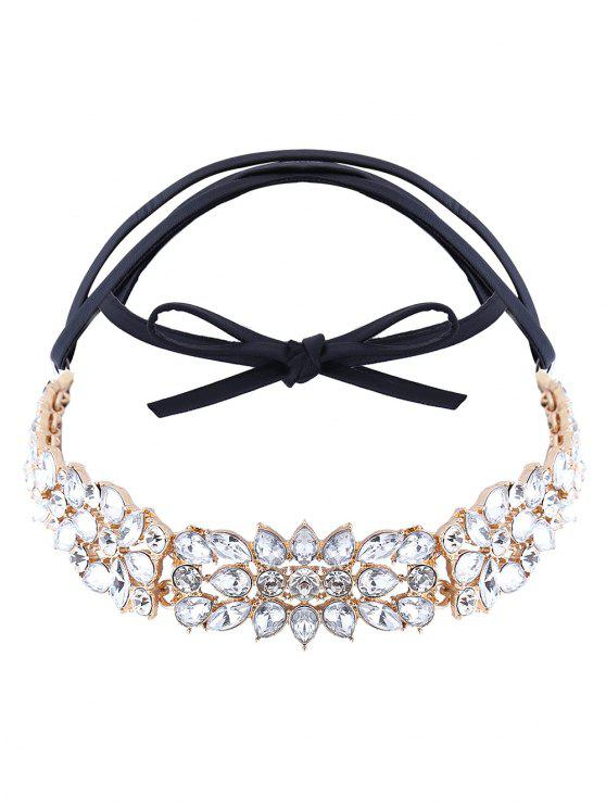 shops Faux Leather Rhinestone Necklace - GOLDEN