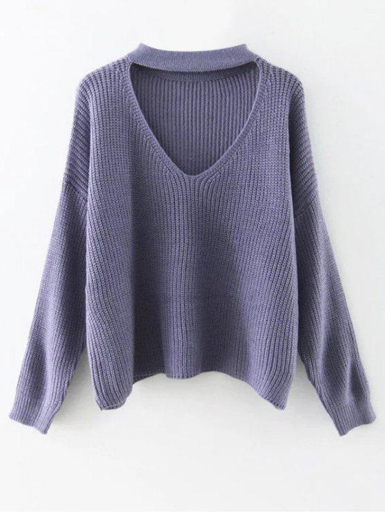 sale Cutout V Neck Choker Sweater - PURPLE ONE SIZE