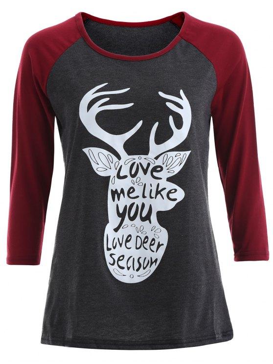 Raglán de la manga Camiseta gráfica de Navidad - Gris y Rojo M