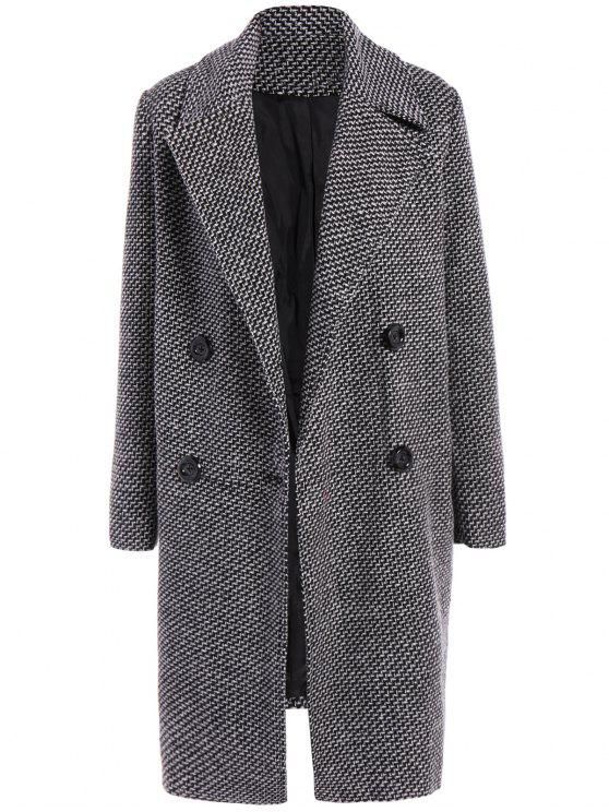 women's Fitting Checked Wool Coat - BLACK XL
