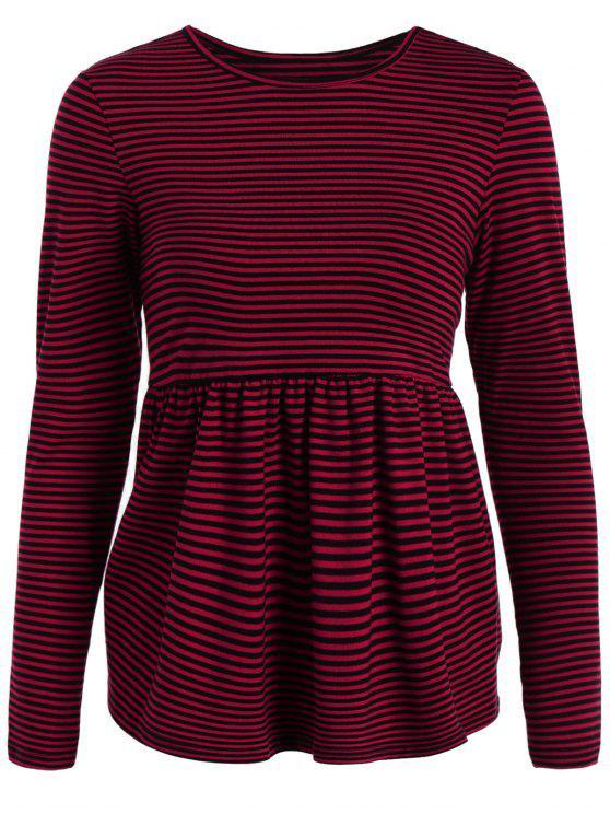 Rayas de manga larga del delantal de la camiseta - Rojo M