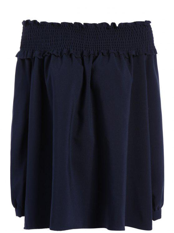 ladies Long Sleeve Off Shoulder Blouse - PURPLISH BLUE 2XL