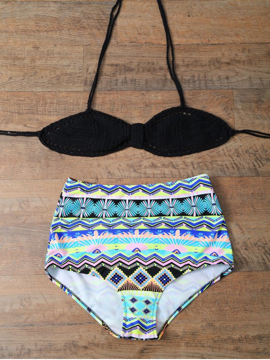 Talle alto de punto Conjunto Bikini - Multicolor XL