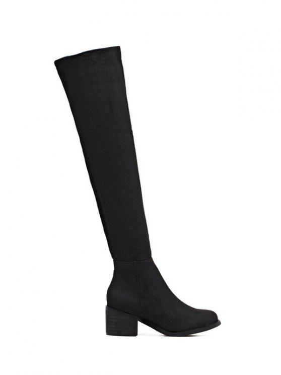 Chunky talón de alta del muslo botas - Negro 38