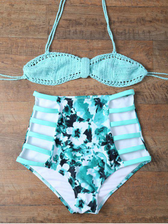 Alta subida del bikini hecho punto fibrosa - Azul y Verde M
