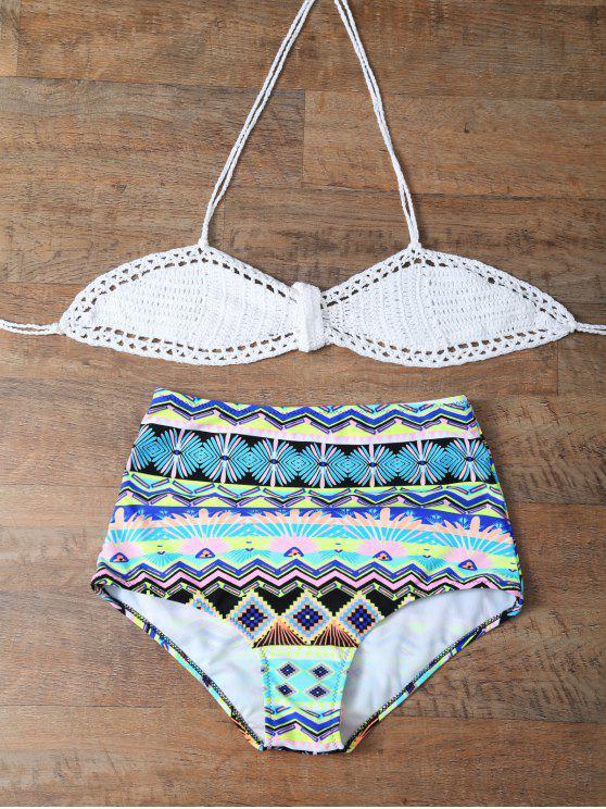 Alta subida Impreso cabestro conjunto del bikini - Multicolor M