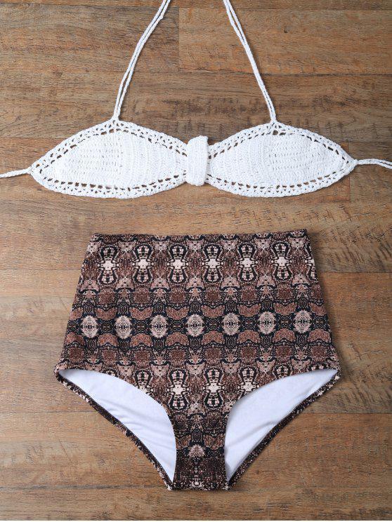 Impreso de talle alto de punto cabestro bikini - Café+Blanco 2XL