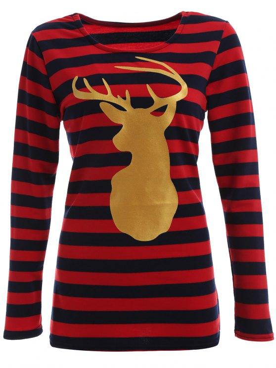 Rayado de Navidad del reno Tee - Azul y Rojo L