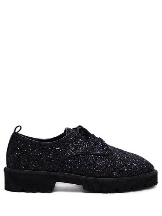 women's Lace Up Sequins Platform Shoes - BLACK 37