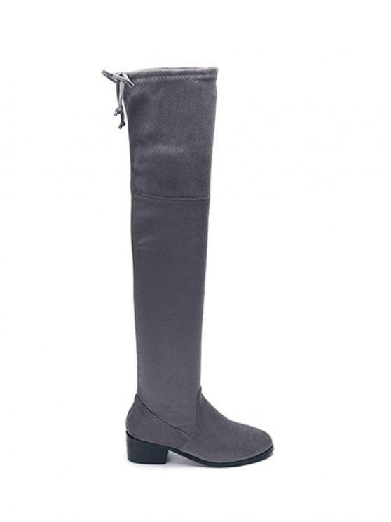 unique Flock Thigh High Boots - GRAY 37