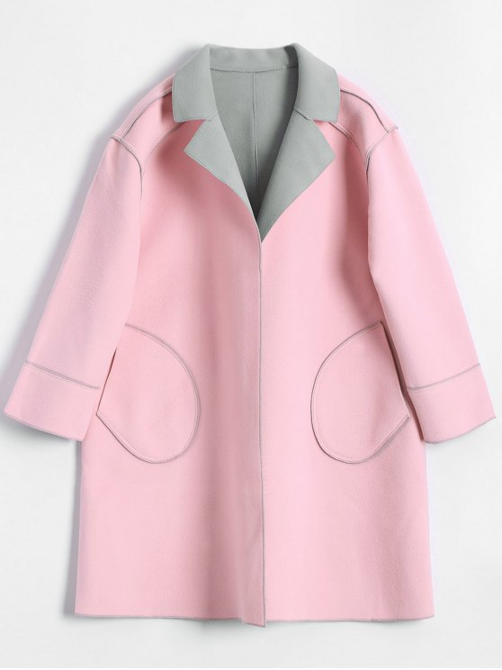 1bcfa2f2693 2019 Plus Size Color Block Wool Blend Coat In LIGHT PINK XL   ZAFUL