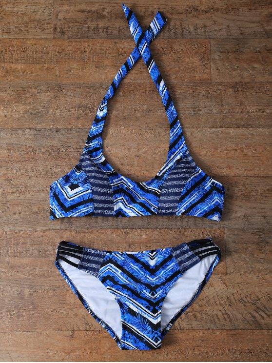 El zigzag de la hoja de impresión cabestro bikini - Azul S