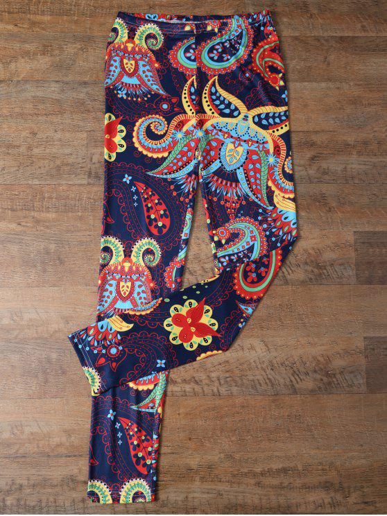 chic Slimming Paisley Leggings - COLORMIX XL