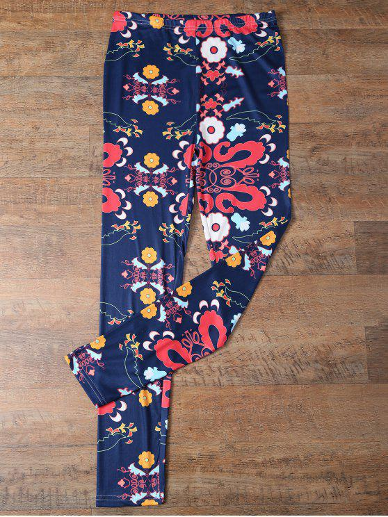 trendy Slimming Tiny Floral Pattern Leggings - PURPLISH BLUE L