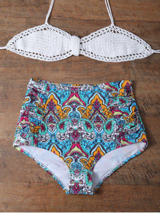 Impreso de talle alto multipunto Bikini - Multicolor L