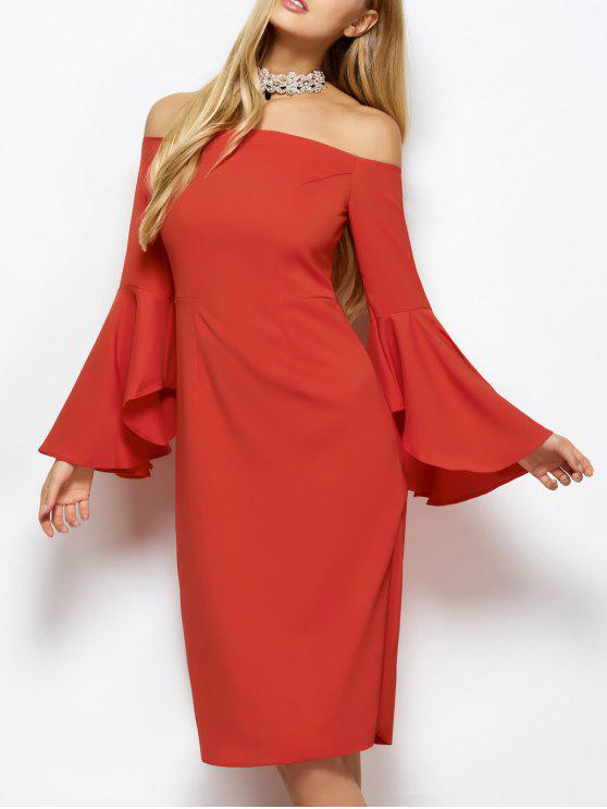 fashion Off The Shoulder Slit Pencil Dress - RED S