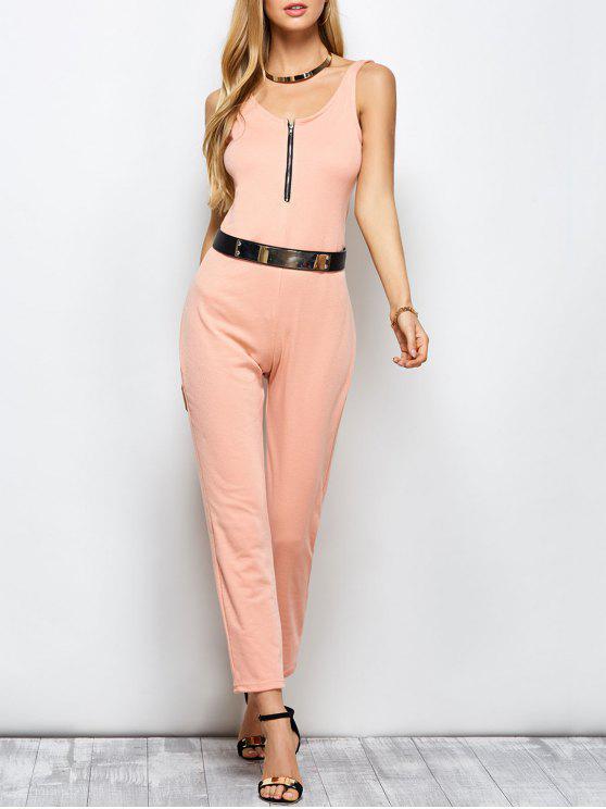 lady Half Zip Straight Jumpsuit - PINK L