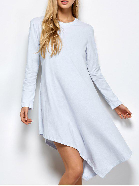 ladies Asymmetric Full Sleeve Dress - LIGHT GREY L
