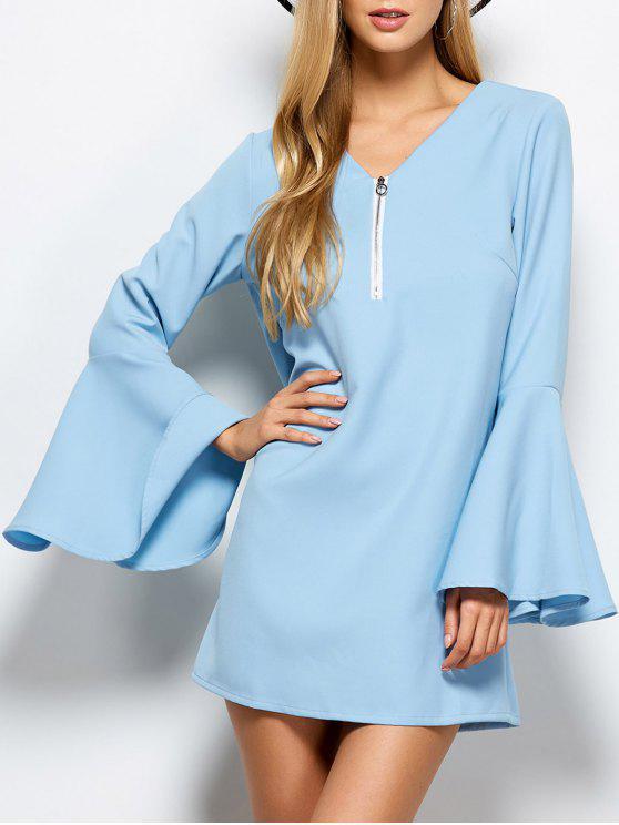 Manga de la llamarada Montaje mini vestido - Azul Claro XL