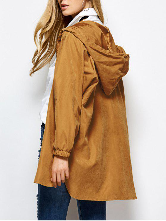 lady Hooded Zippered Coat - CAMEL S
