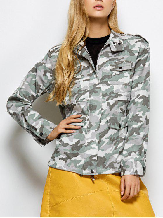 women's Camouflage Utility Jacket - CAMOUFLAGE COLOR L