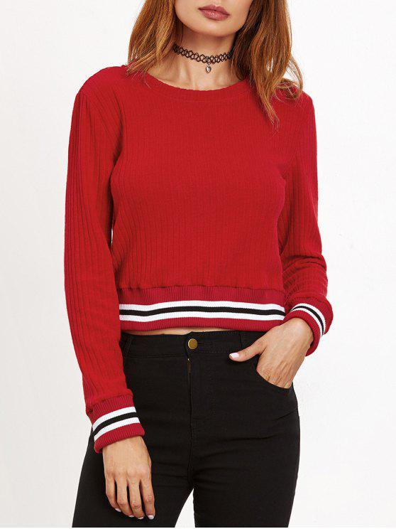 bac85593ad 2019 Ribbed Cropped Pullover Sweater In RED S
