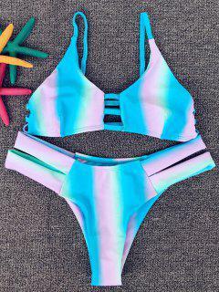 Rainbow Print Spaghetti Strap Ombre Bikini - S