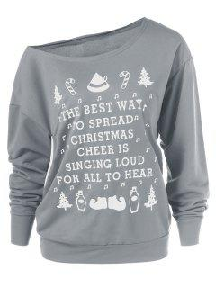 Christmas Graphic Pullover Skew Neck Sweatshirt - Gray L