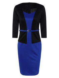 Vestido Lápiz Color Bloque Cinturón Adelgazante  - Azul Y Negro M