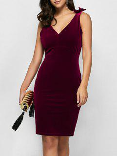 Vestido Terciopelo Sin Mangas Moño Ajustado  - Vino Rojo M