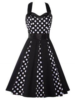 Vintage Halter Polka Dot Mini Pin Up Dress - Black M